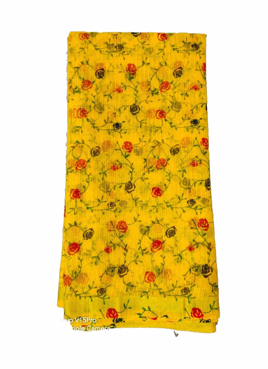 WOMEN SYNTHETIC DORIYA  SAREE WITH BLOUSE-YELLOW-DF JULY SUMMER COOL 01