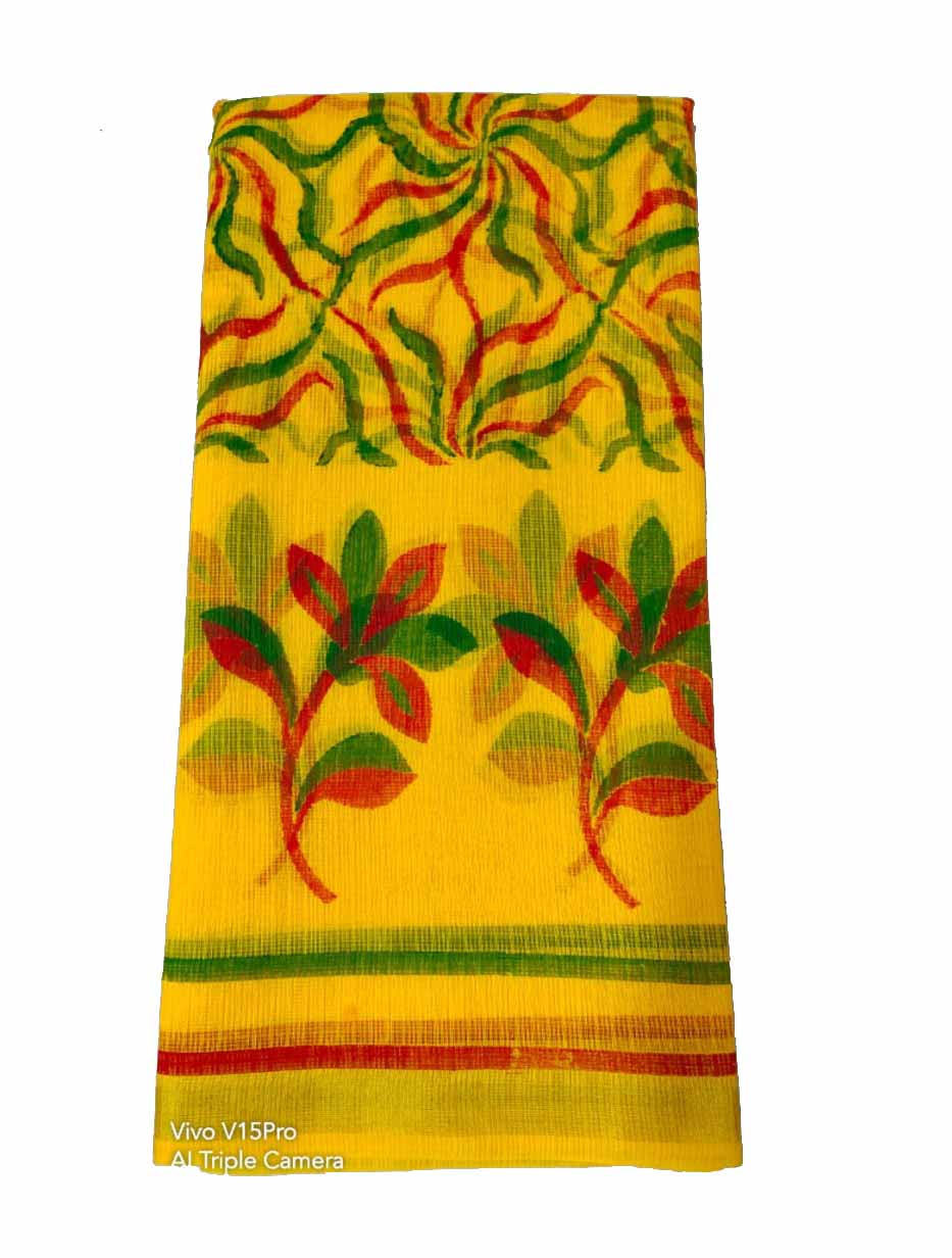 WOMEN SYNTHETIC DORIYA SAREE WITH BLOUSE-YELLOW GREEN-DF JULY SUMMER COOL 02