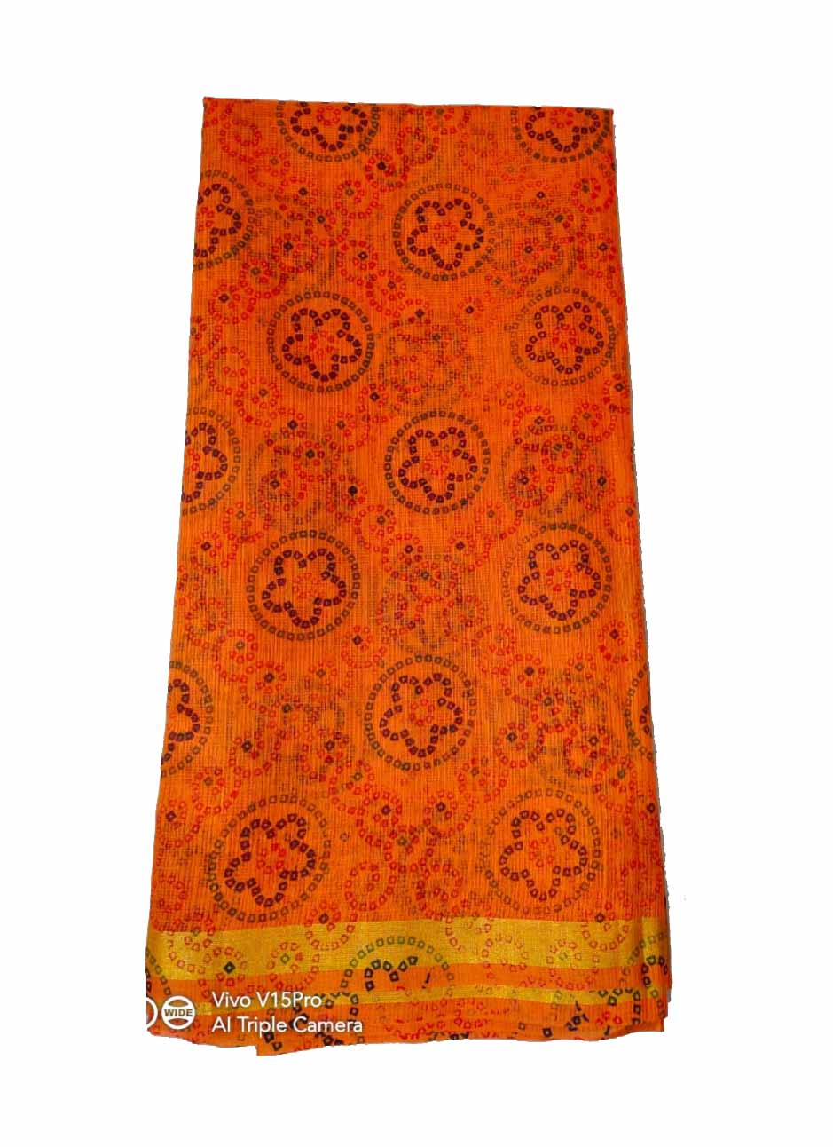 WOMEN SYNTHETIC DORIYA SAREE WITH BLOUSE-ORANGE-DF JULY SUMMER COOL 03