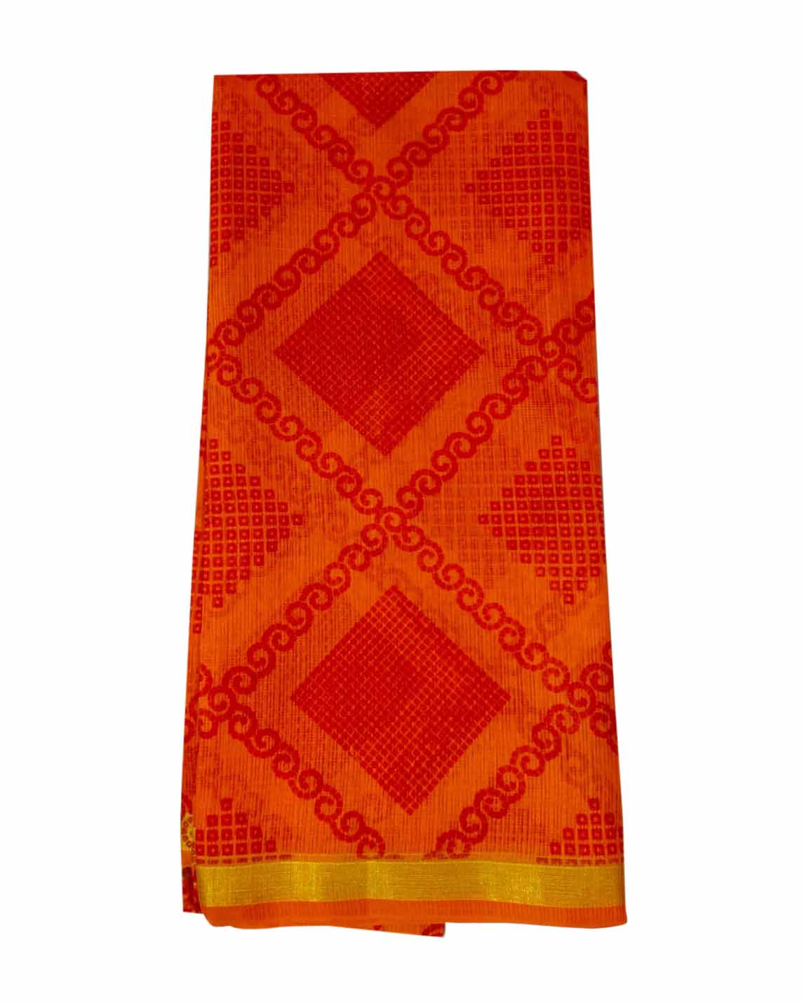 WOMEN SYNTHETIC DORIYA SAREE WITH BLOUSE-ORANGE-DF JULY SUMMER COOL 05