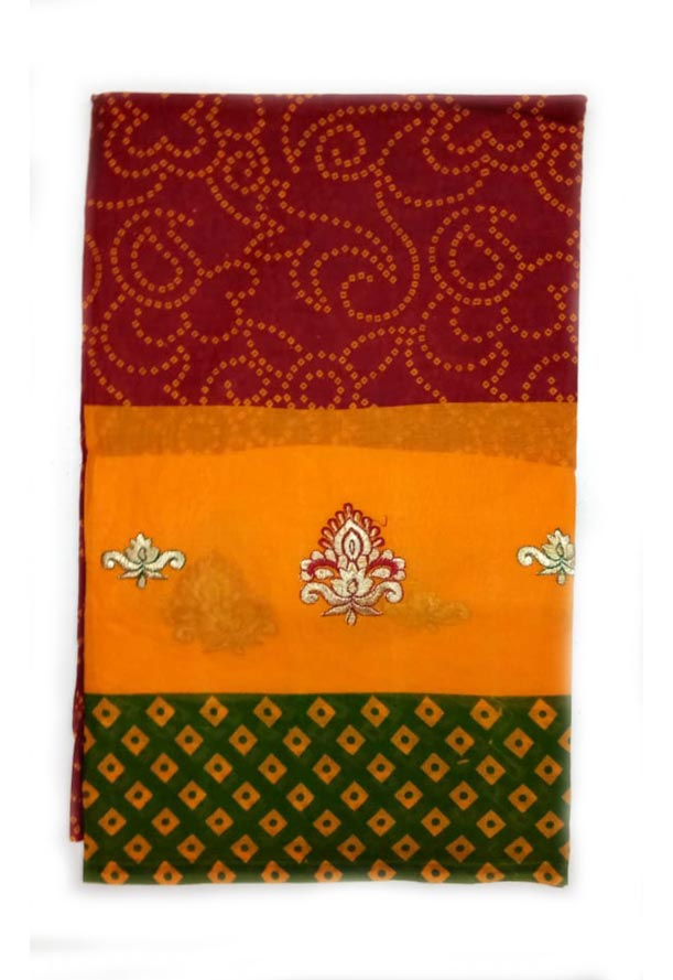 WOMEN SAREE WITHOUT BLOUSE-GREEN RED 1-AT JULY RED GOLD 01