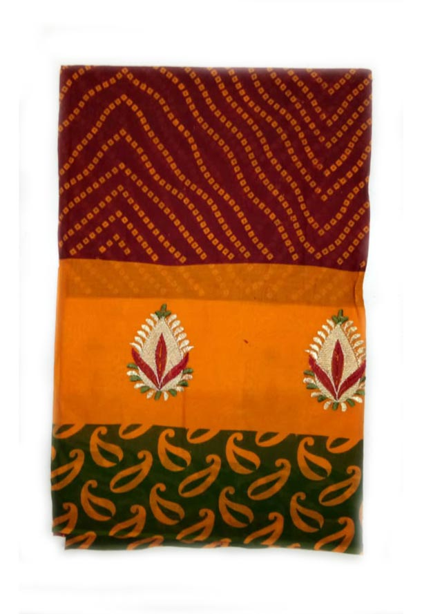 WOMEN SAREE WITHOUT BLOUSE-GREEN RED 3-AT JULY RED GOLD 01
