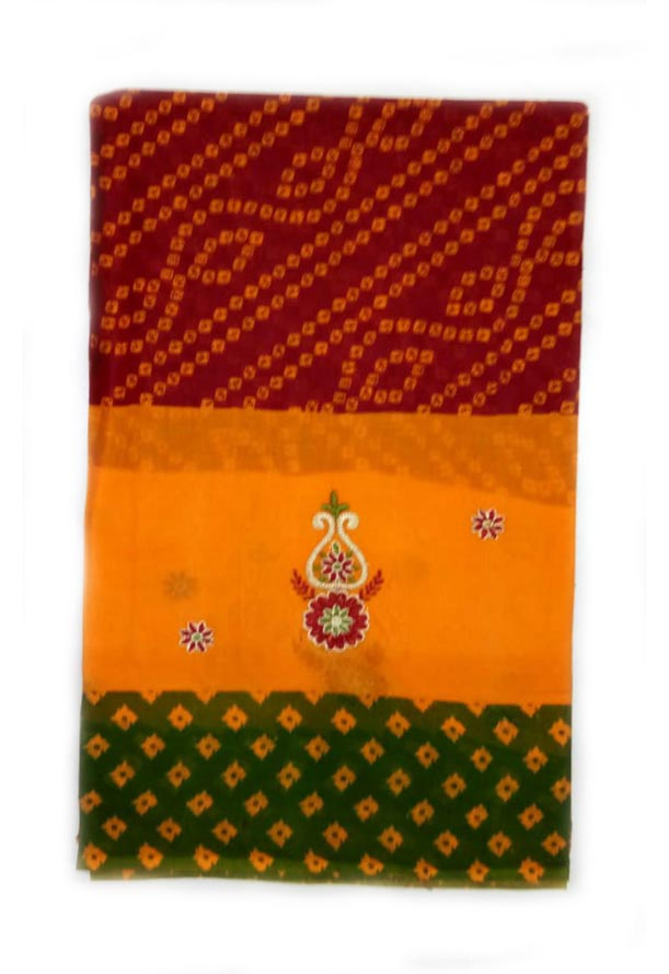 WOMEN SAREE WITHOUT BLOUSE-GREEN RED 4-AT JULY RED GOLD 01