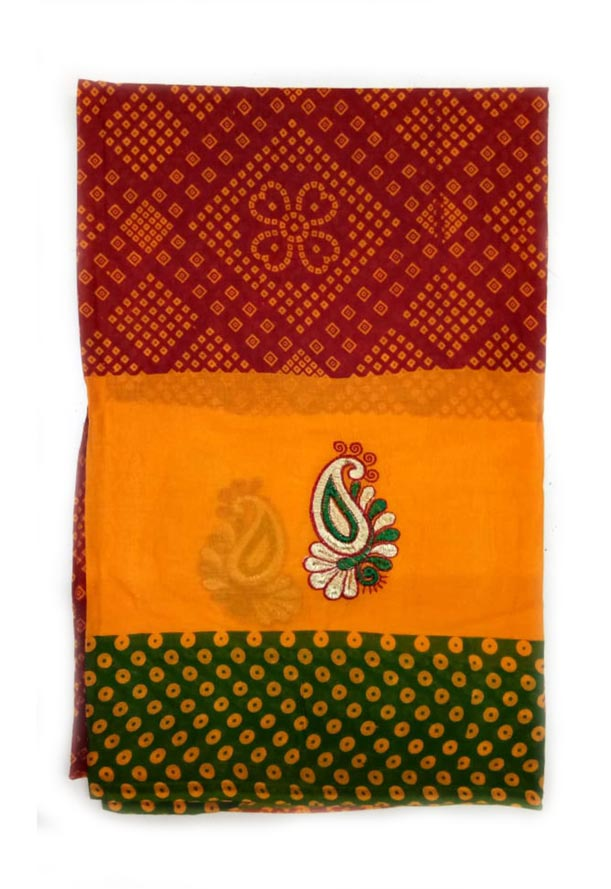 WOMEN SAREE WITHOUT BLOUSE-GREEN RED 5-AT JULY RED GOLD 01
