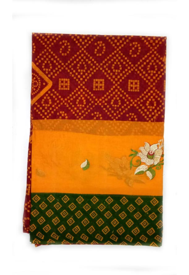 WOMEN SAREE WITHOUT BLOUSE-GREEN RED 6-AT JULY RED GOLD 01