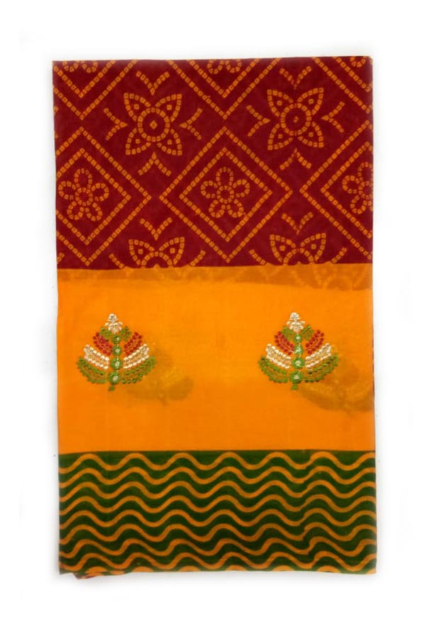 WOMEN SAREE WITHOUT BLOUSE-GREEN RED 7-AT JULY RED GOLD 01