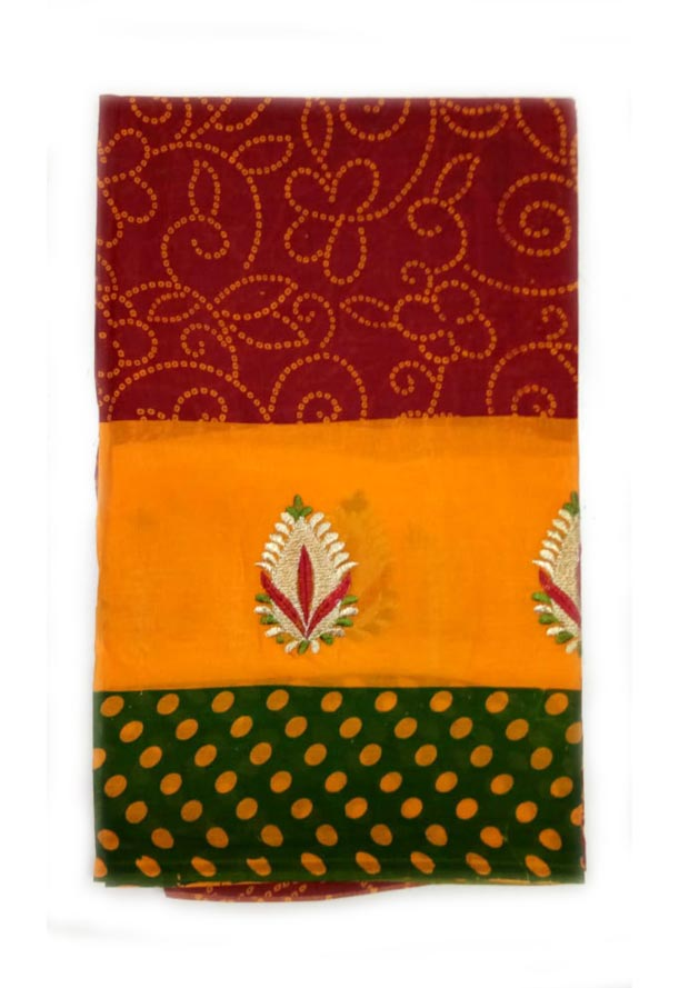 WOMEN SAREE WITHOUT BLOUSE-GREEN RED 8-AT JULY RED GOLD 01