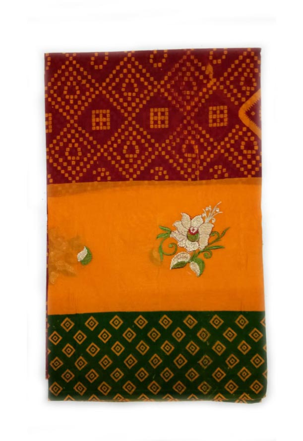 WOMEN SAREE WITHOUT BLOUSE-GREEN RED 10-AT JULY RED GOLD 01