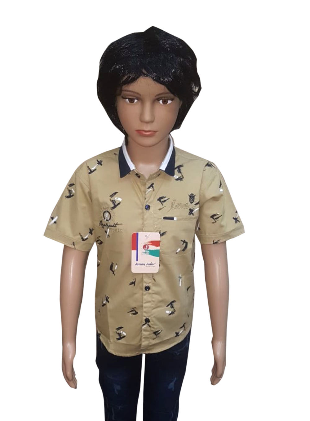 KHS AUG 2019 17-NAVY KHAKHI KIDS HALF SLEEVES SHIRT