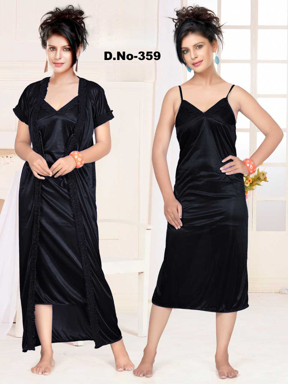 WMN SATIN TWO PIECE NIGHTY-BLACK-KC APL 359
