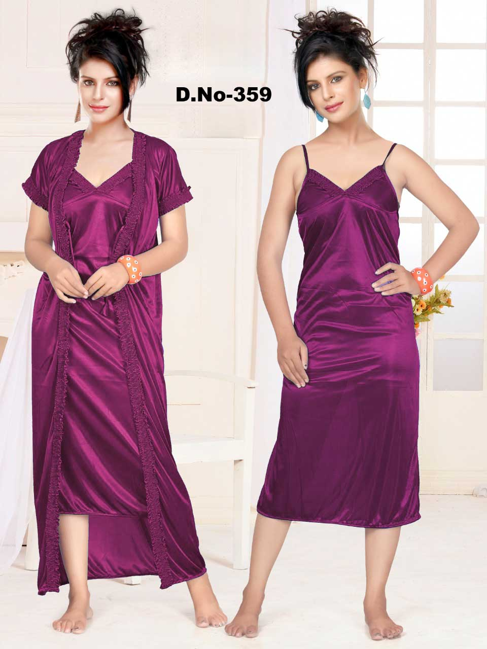 WMN SATIN TWO PIECE NIGHTY-MAGENTA-KC APL 359