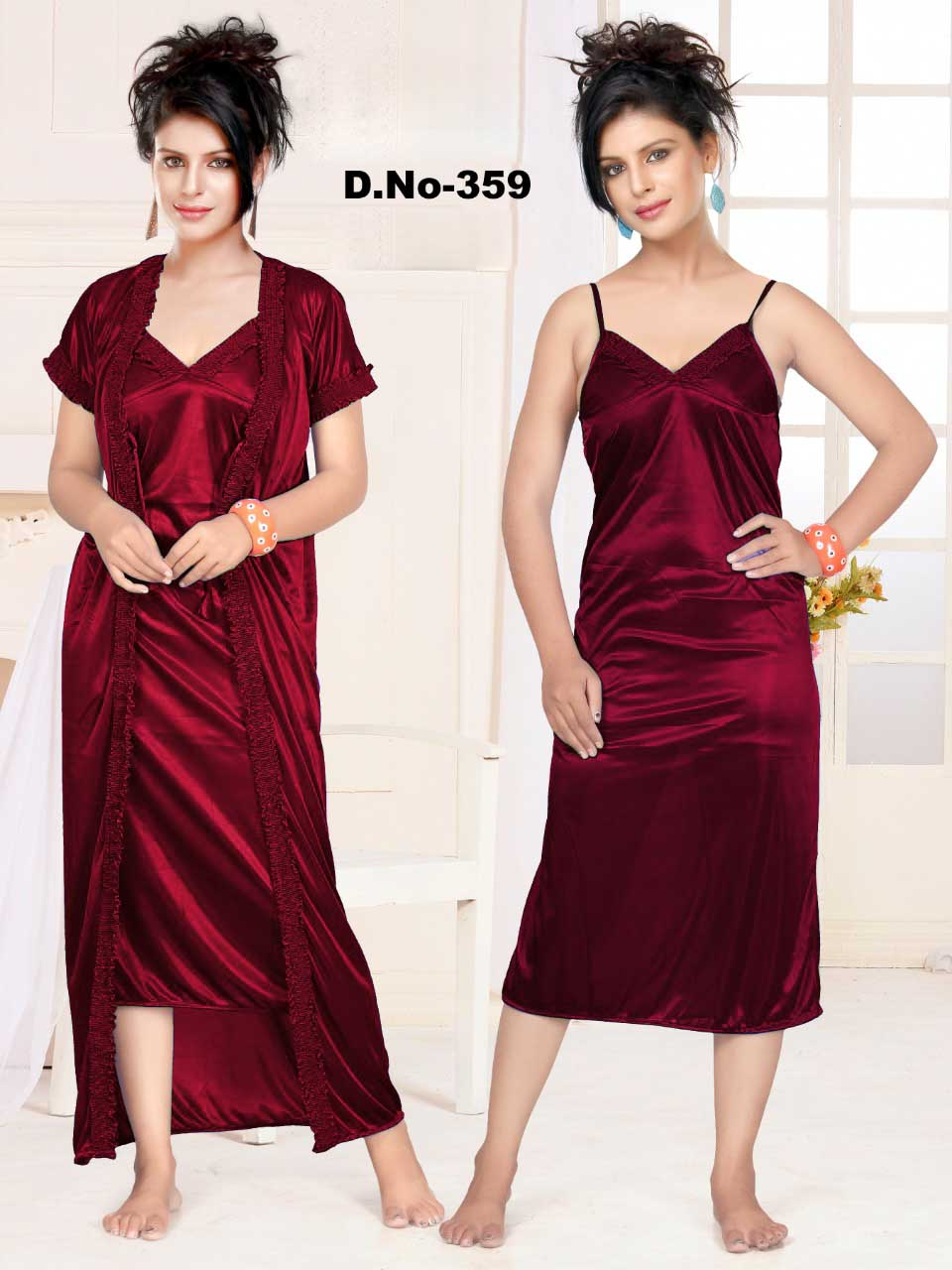 WMN SATIN TWO PIECE NIGHTY-MAROON-KC APL 359