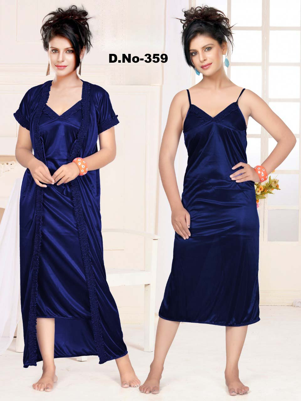 WMN SATIN TWO PIECE NIGHTY-NAVY-KC APL 359