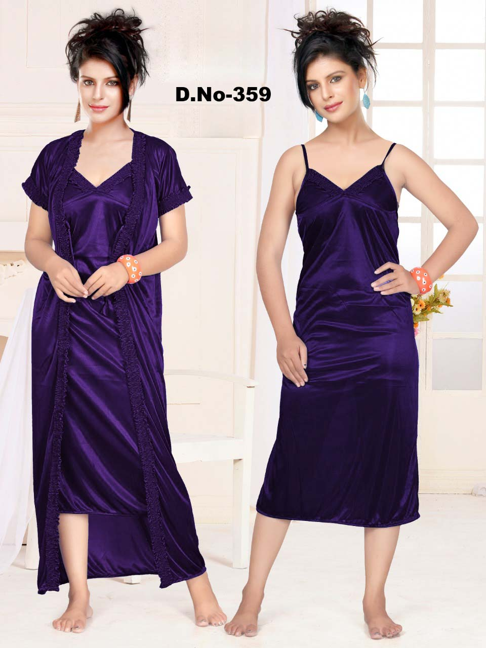 WMN SATIN TWO PIECE NIGHTY-PURPLE-KC APL 359