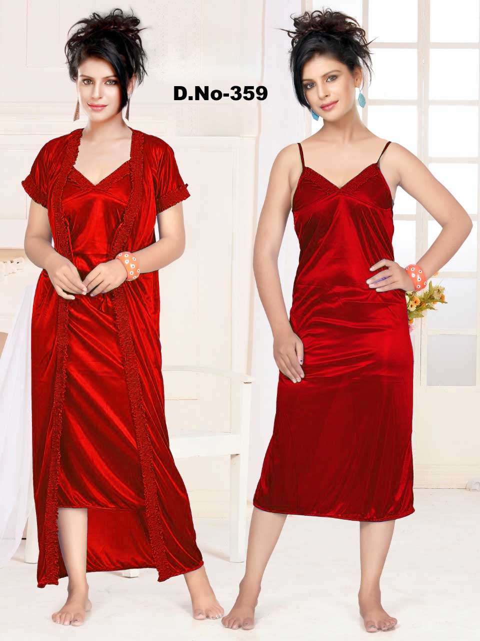 WMN SATIN TWO PIECE NIGHTY-RED-KC APL 359