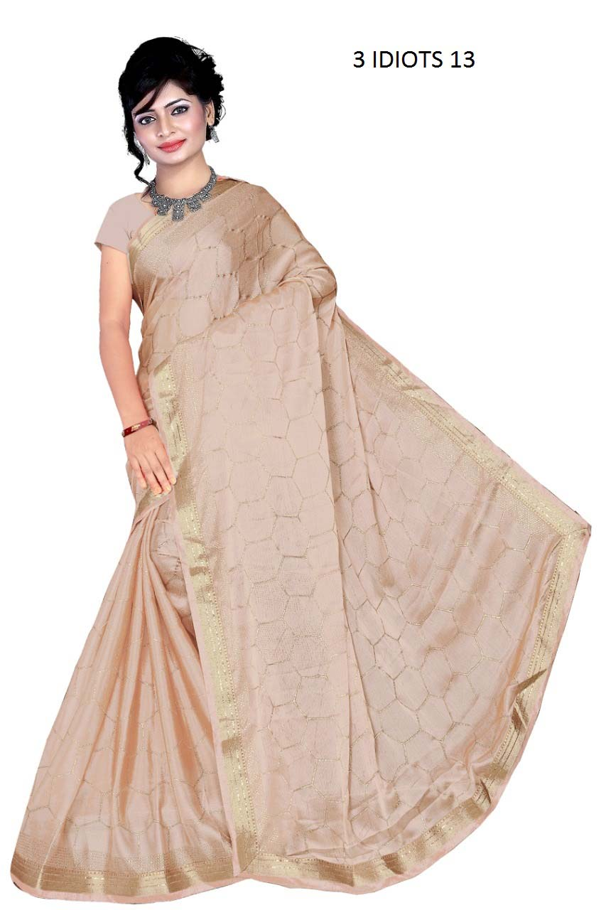 WOMENS SAREE WITH BLOUSE-BROWN-WS AUG 3 IDIOT 13 2019