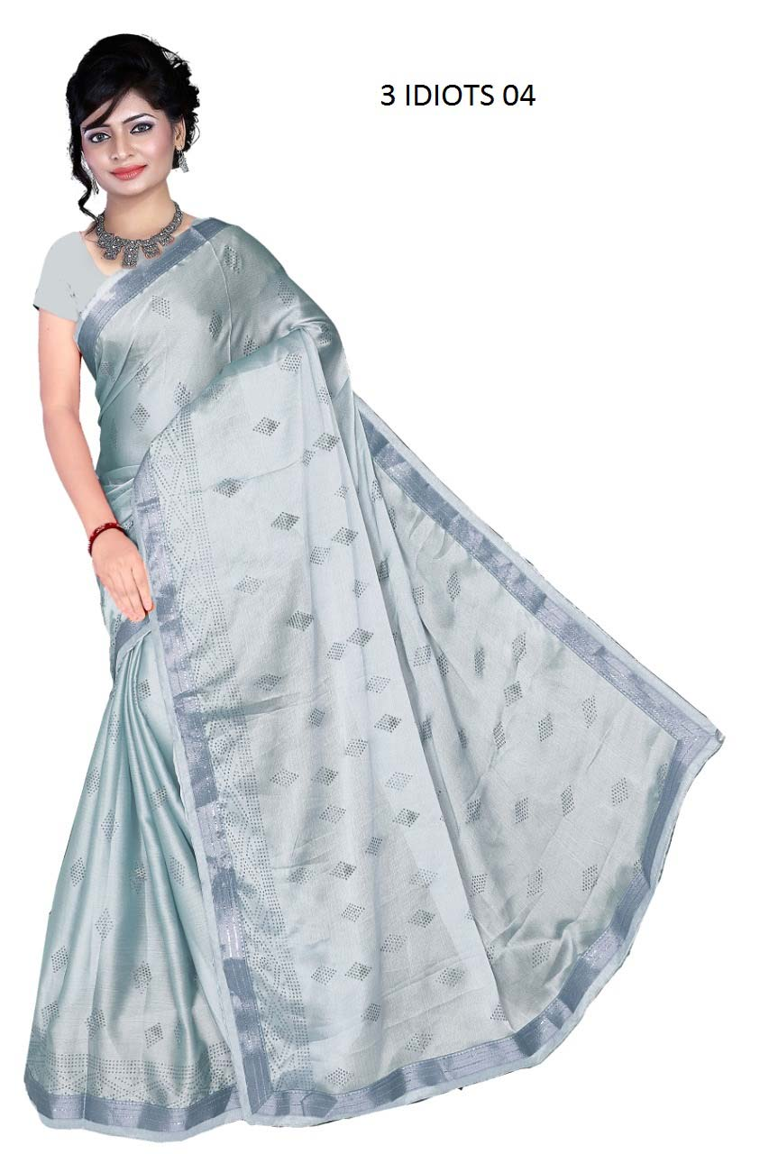 WOMENS SAREE WITH BLOUSE-GRAY-WS AUG 3 IDIOT 504 2019