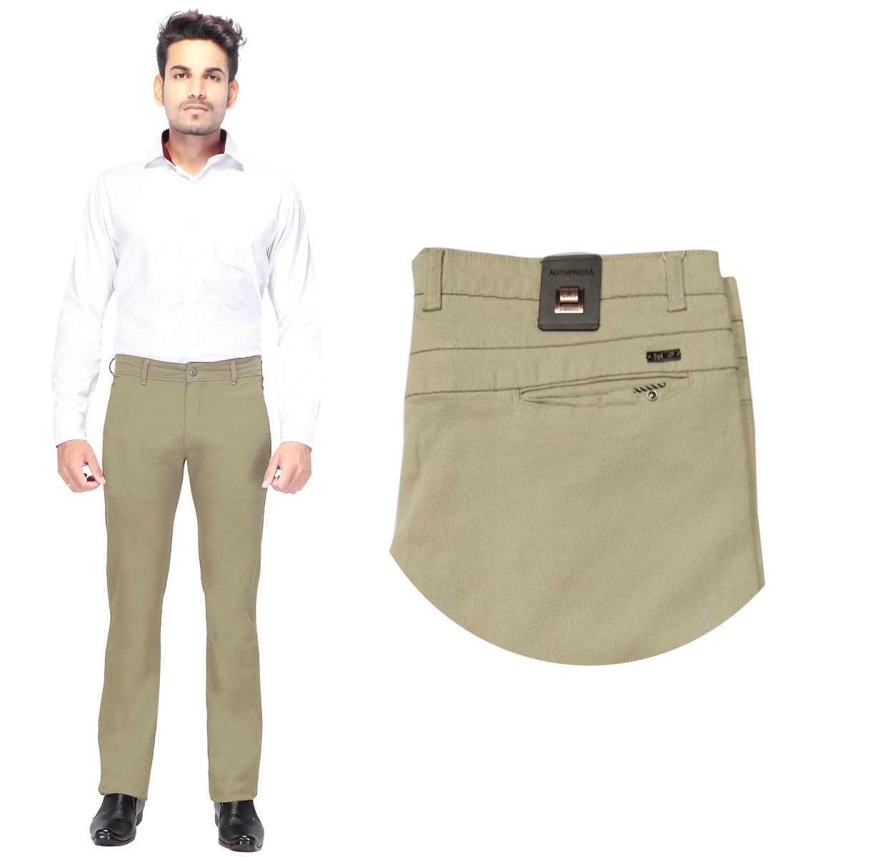 AE DOBBY MATTY 2019-CREAM MEN CASUAL TROUSER