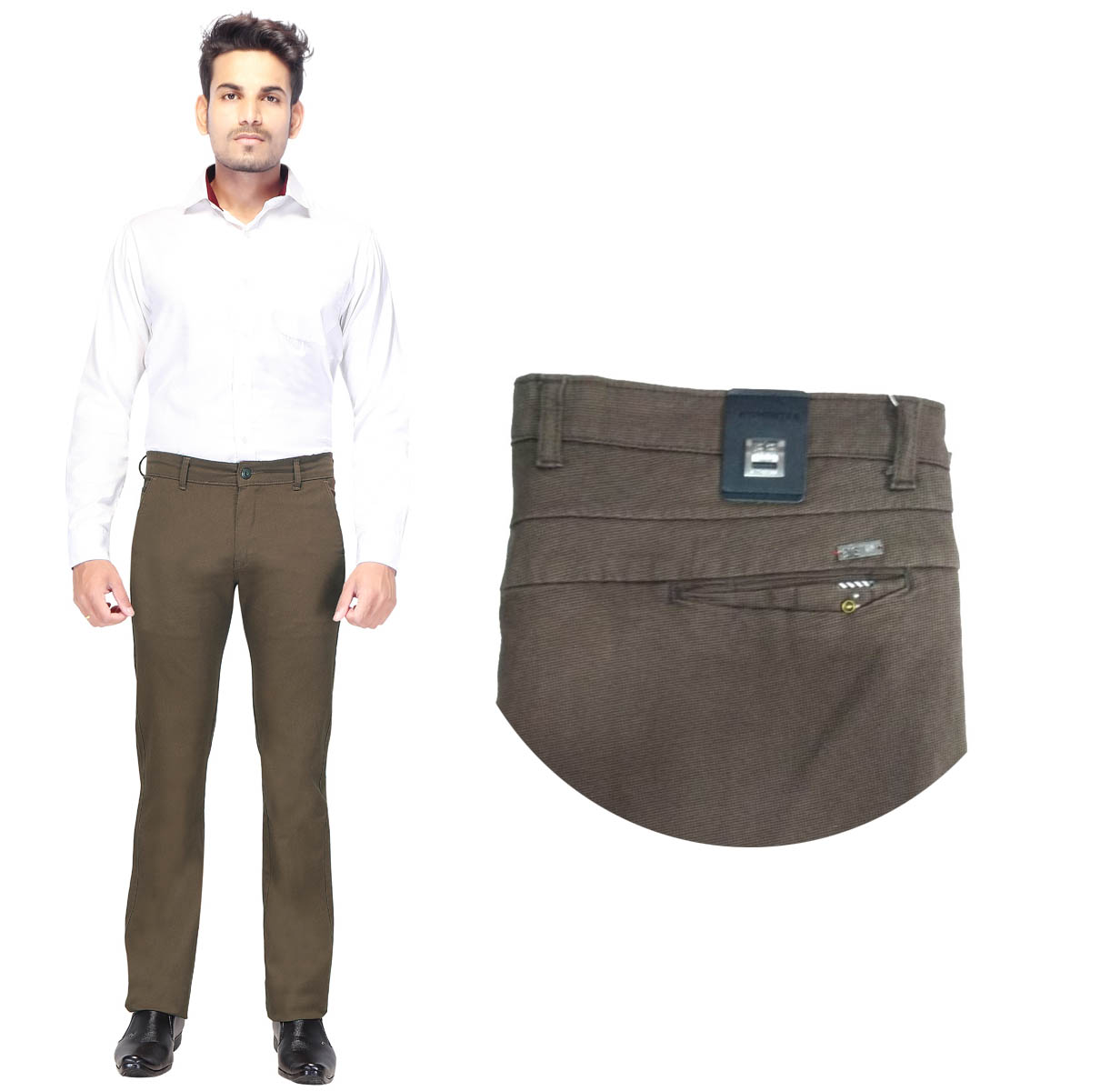 AE DOBBY MATTY 2019-MEHANDI GREEN MEN CASUAL TROUSER