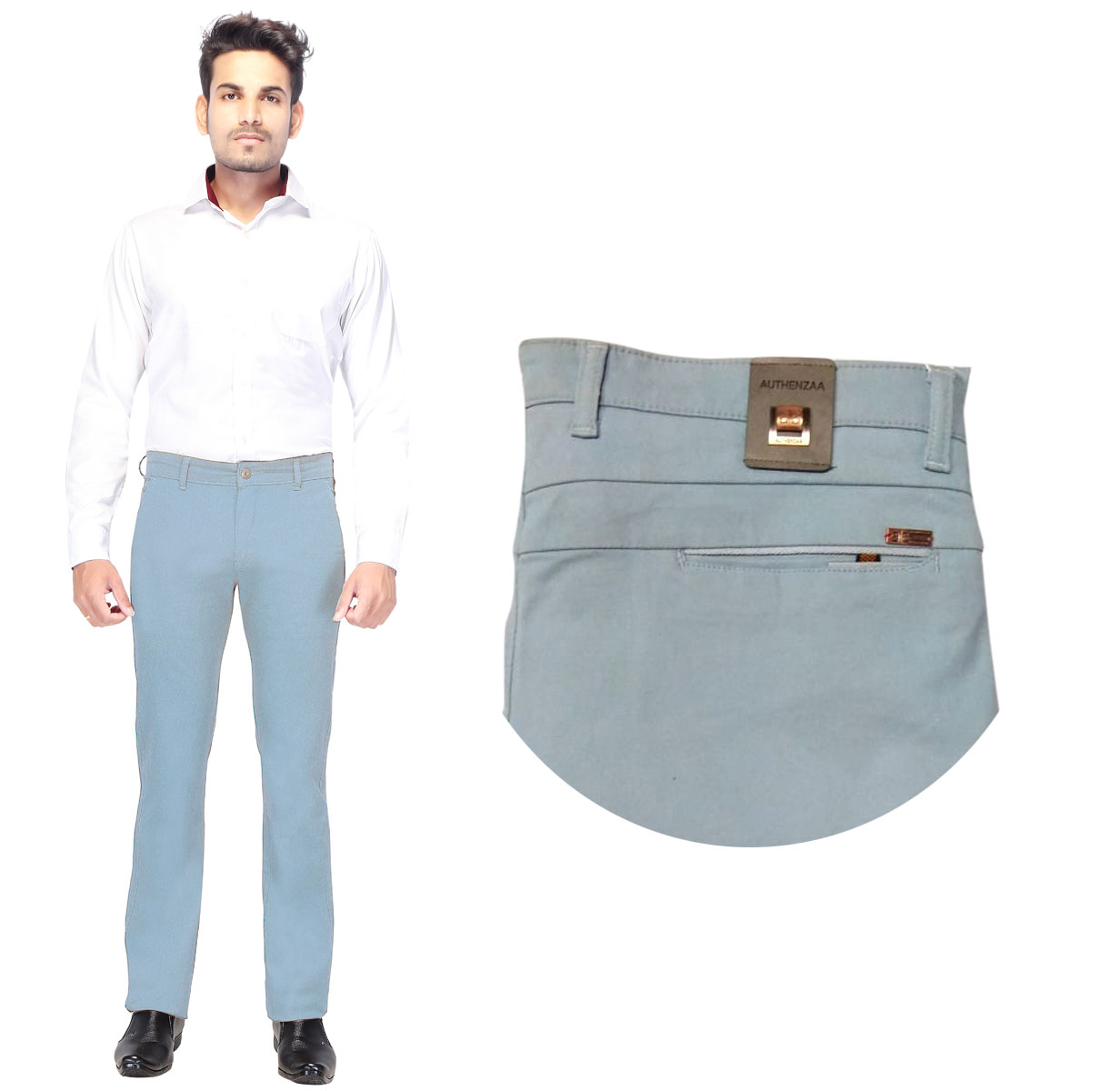 AE KNITTED 2019-SKY BLUE MEN CASUAL TROUSER