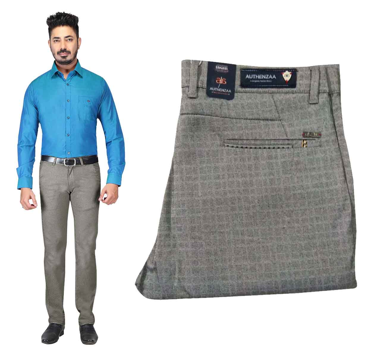 UTD OCT D 121 2019-BLUE MEN CASUAL TROUSER
