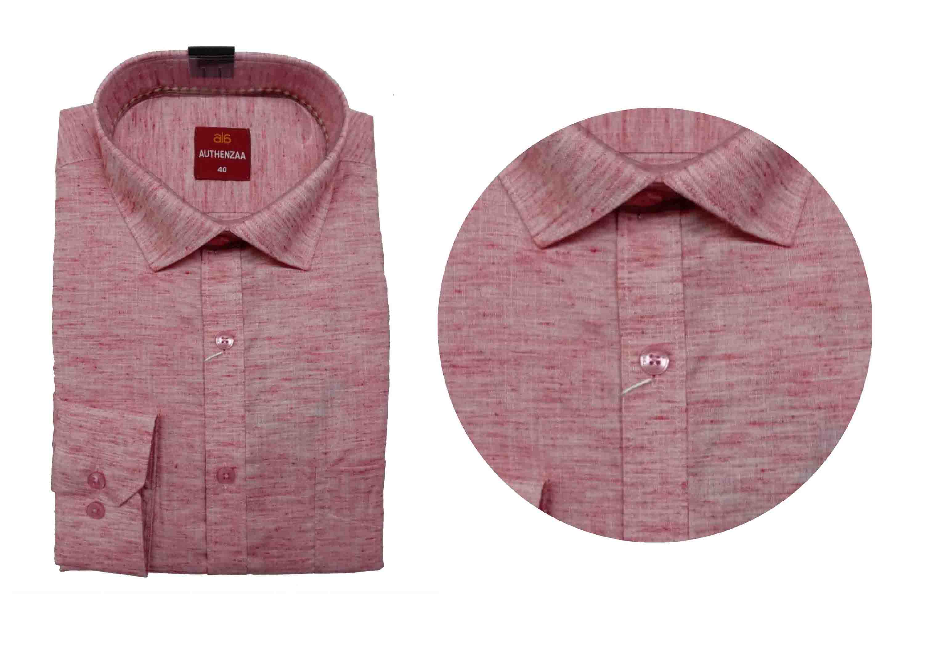 BT WALKMAN 2019-LINEN RED MEN'S FORMAL SHIRT