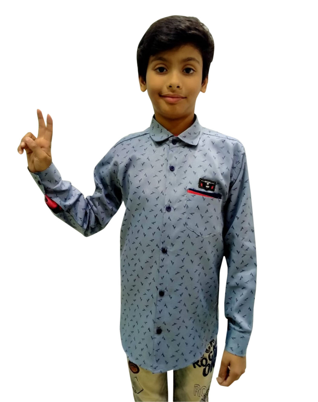 KFS JAN 01 2020-GRAY KIDS FULL SLEEVES SHIRT