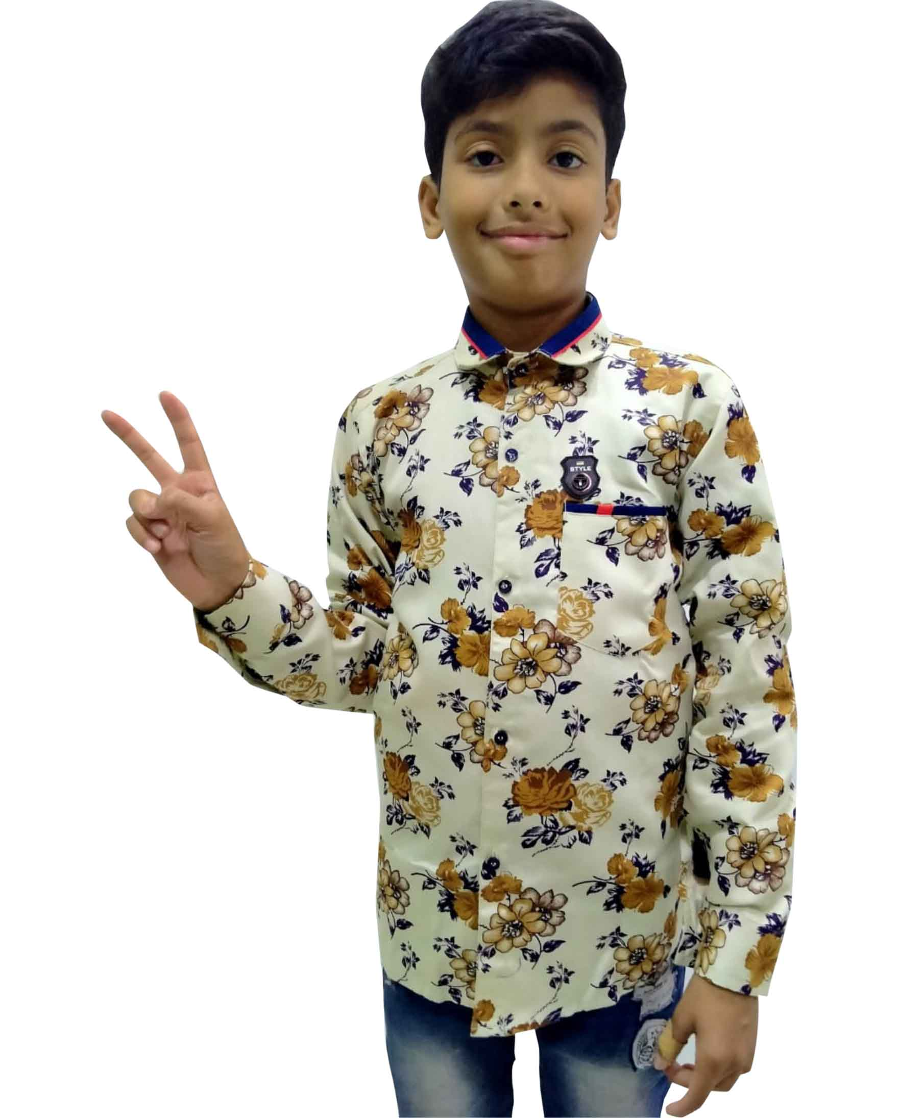 KFS JAN 02 2020-BROWN BLUE KIDS FULL SLEEVES SHIRT