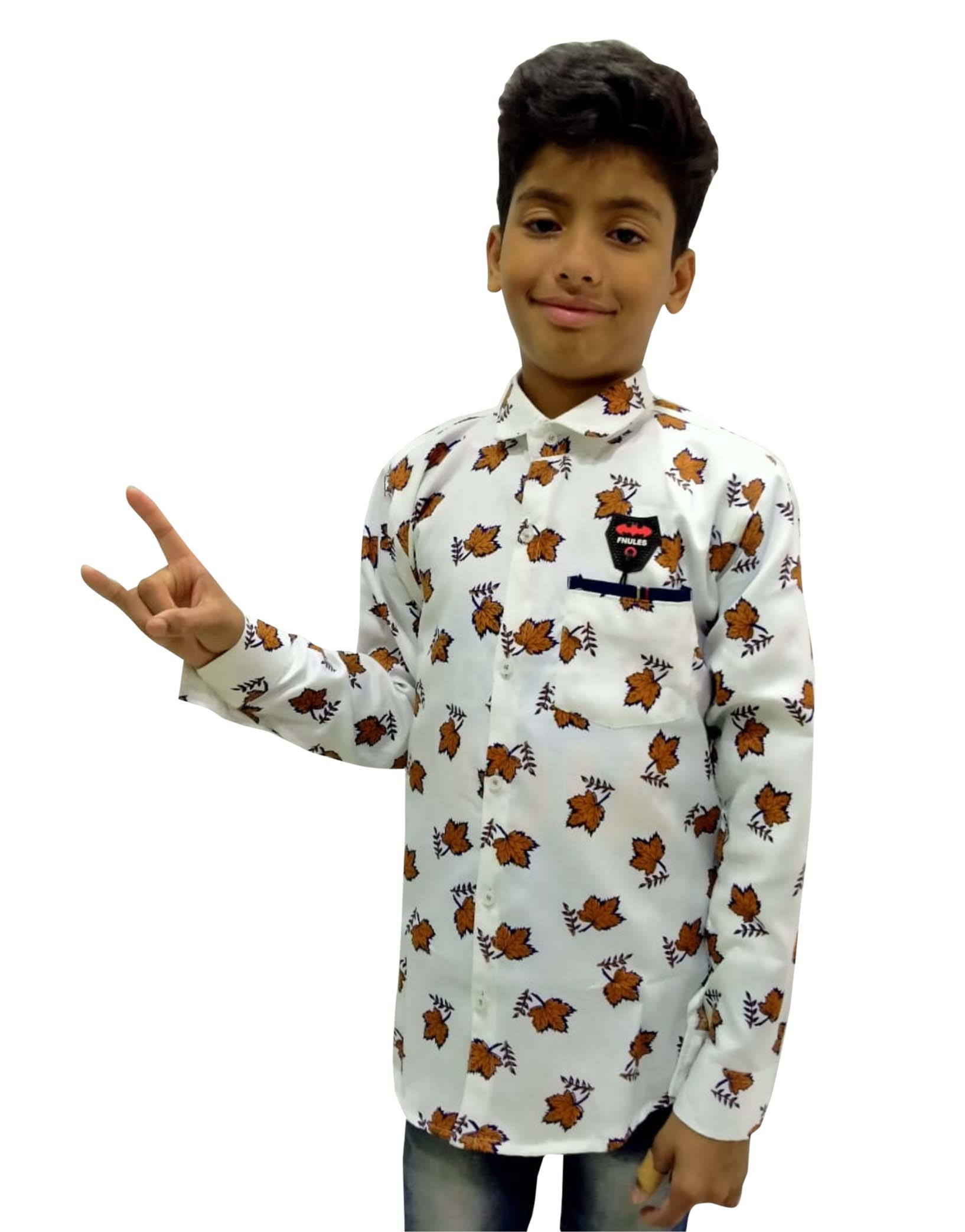 KFS JAN 02 2020-WHITE BROWN KIDS FULL SLEEVES SHIRT