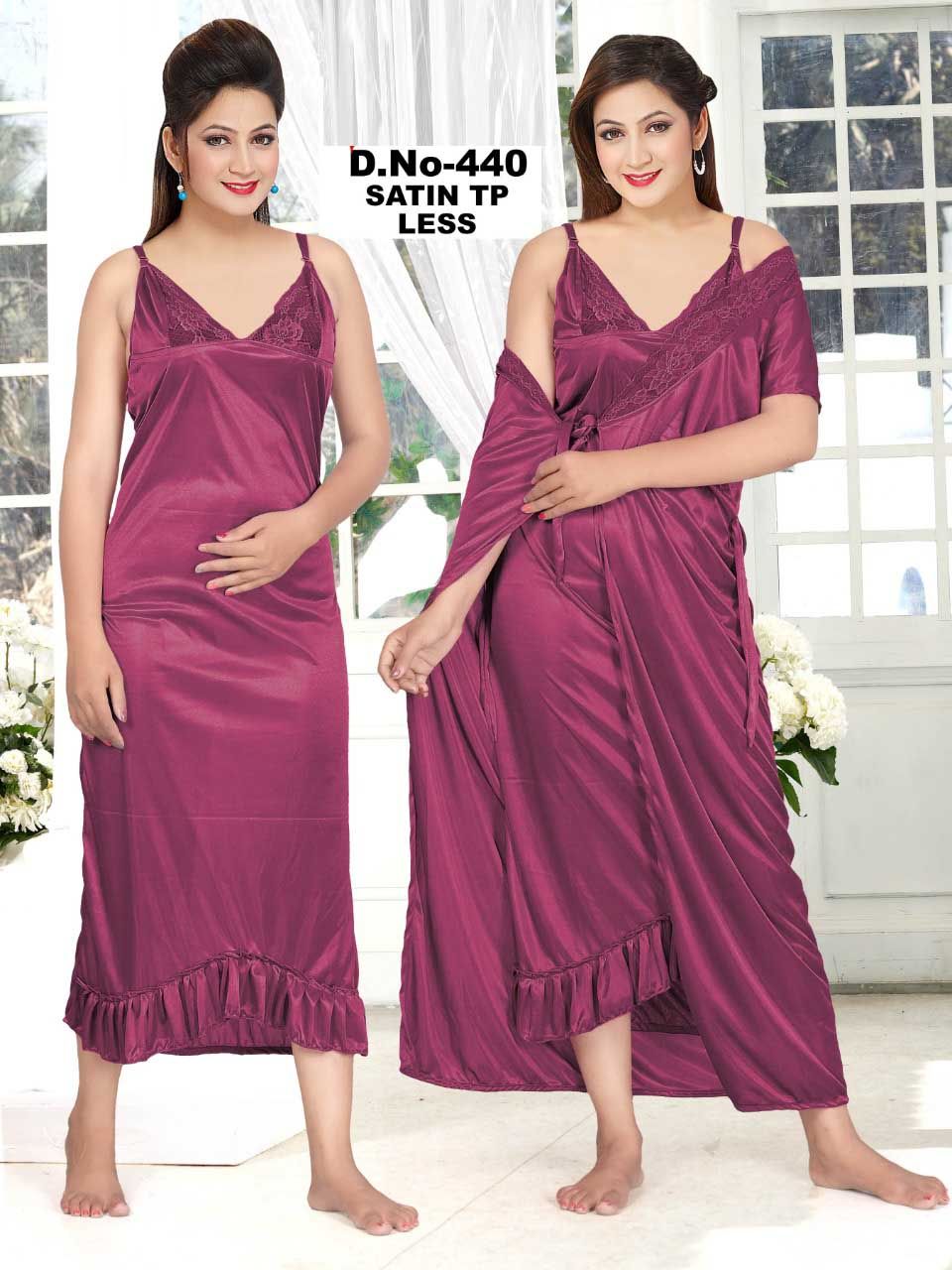 SATIN TWO PIECE NIGHTY-MAGENTA-KC MAY 440