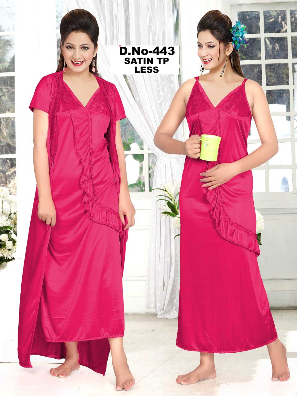 SATIN TWO PIECE NIGHTY-PINK-KC MAY 443