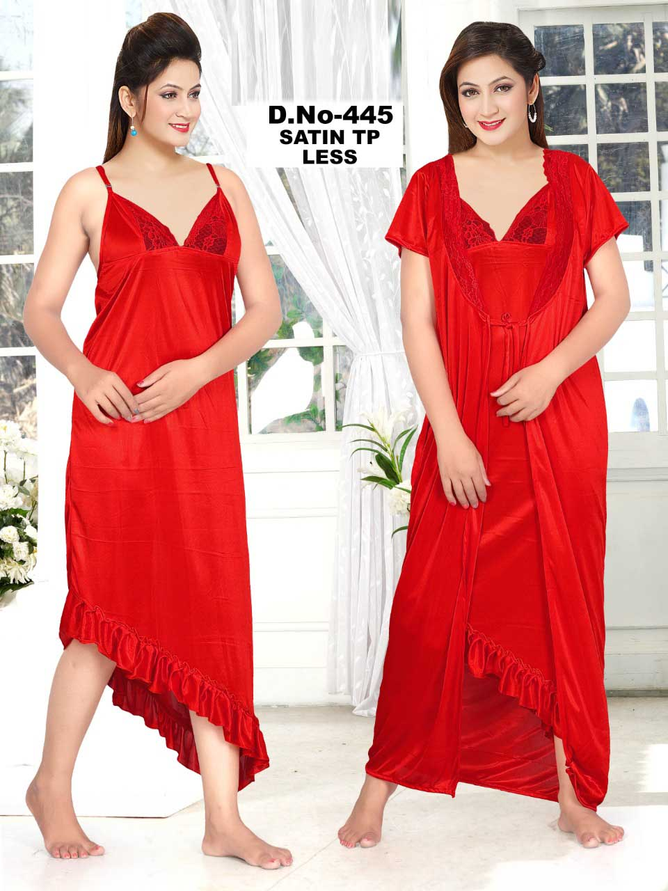 SATIN TWO PIECE NIGHTY-RED-KC MAY 445