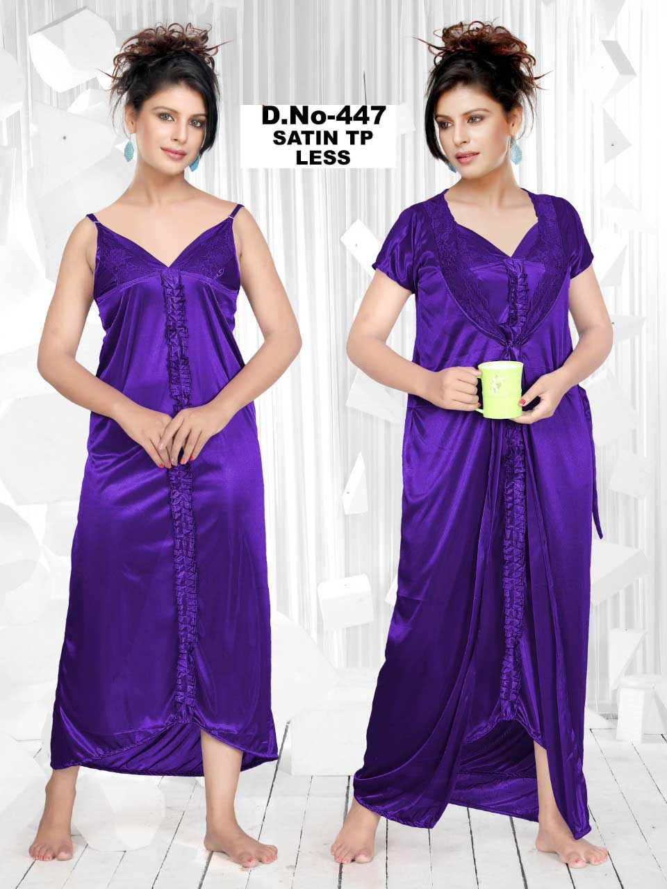 SATIN TWO PIECE NIGHTY-PURPLE-KC MAY 447