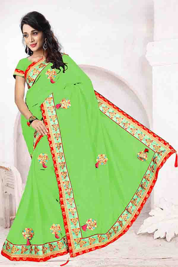 WOMEN SAREE WITH BLOUSE-GREEN-DF FIVE STAR 01
