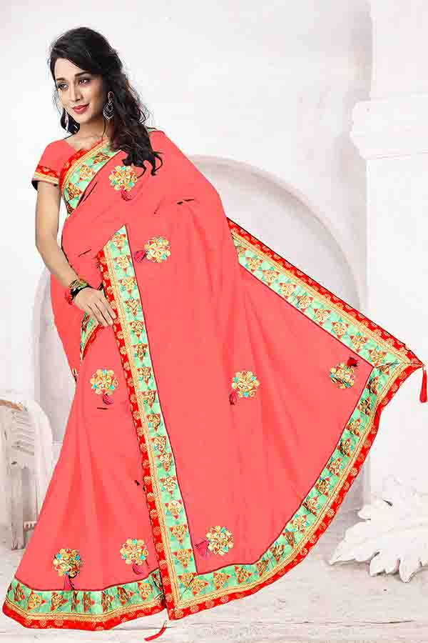 WOMEN SAREE WITH BLOUSE-PEACH-DF FIVE STAR 01