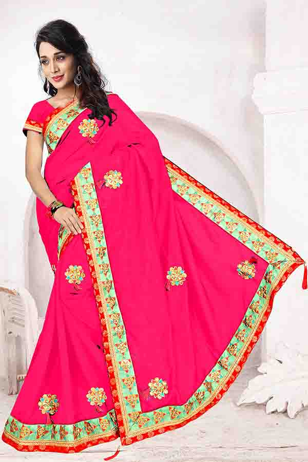 WOMEN SAREE WITH BLOUSE-PINK-DF FIVE STAR 01