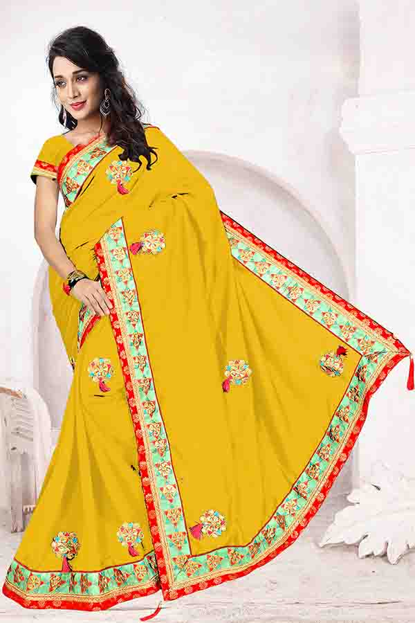WOMEN SAREE WITH BLOUSE-YELLOW-DF FIVE STAR 01
