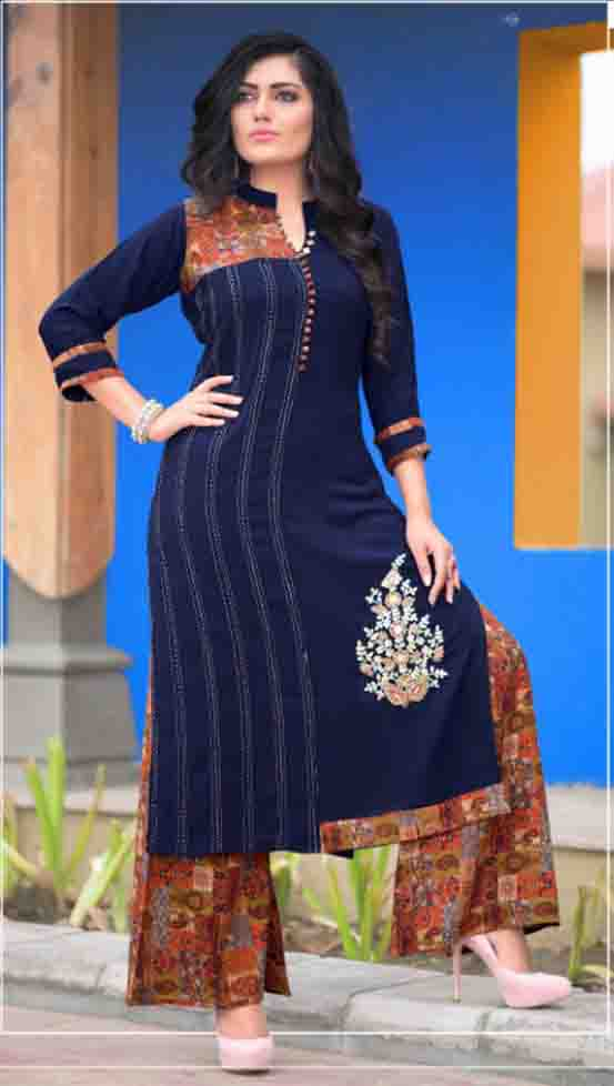 SUF AAYAN 01-D NO 1 WOMEN KURTI WITH RAYON PALAZZO