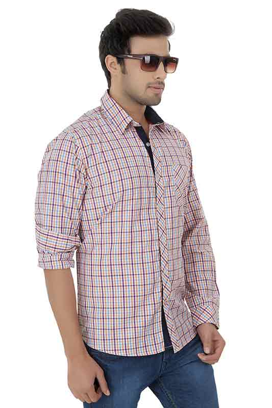 Orange Checks Casual Shirt