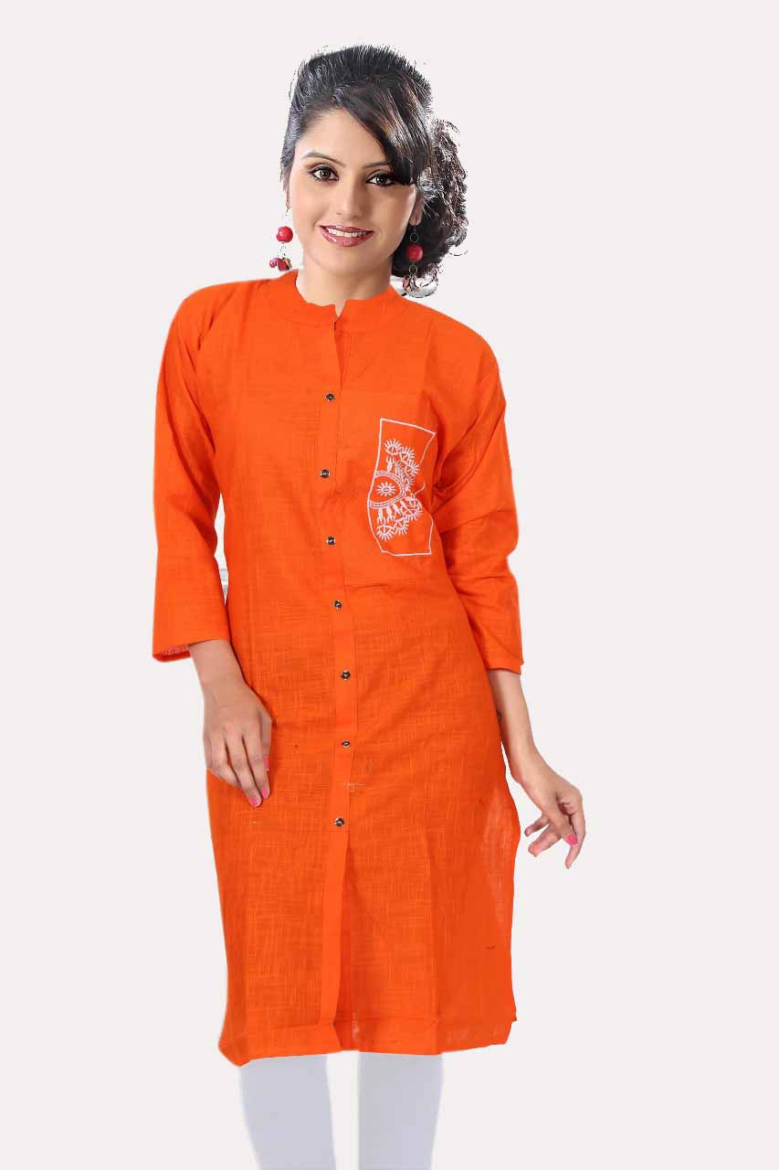 AARVI-ORANGE COTTON LINEN KURTI