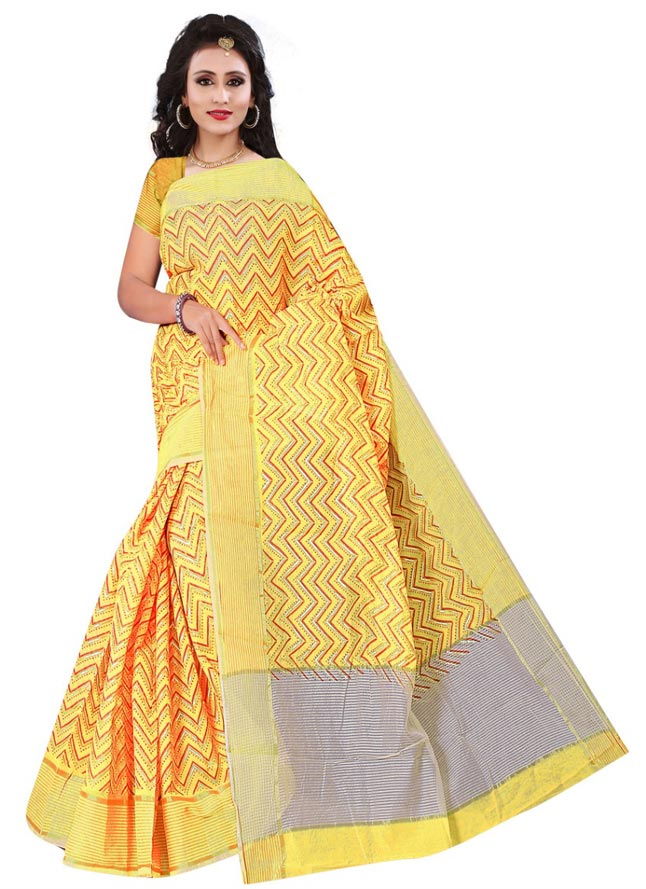 WOMEN SAREE WITH BLOUSE-YELLOW-DF APURVA 02 2019