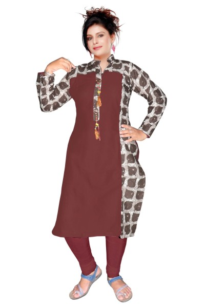 AriFash 01 - K13 Dark Brown Cotton Stiched Kurti
