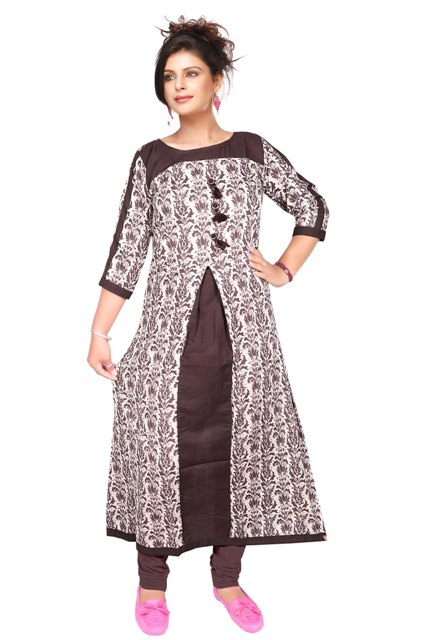 AriFash P2 - D3 Dark Brown Stitched Kurti