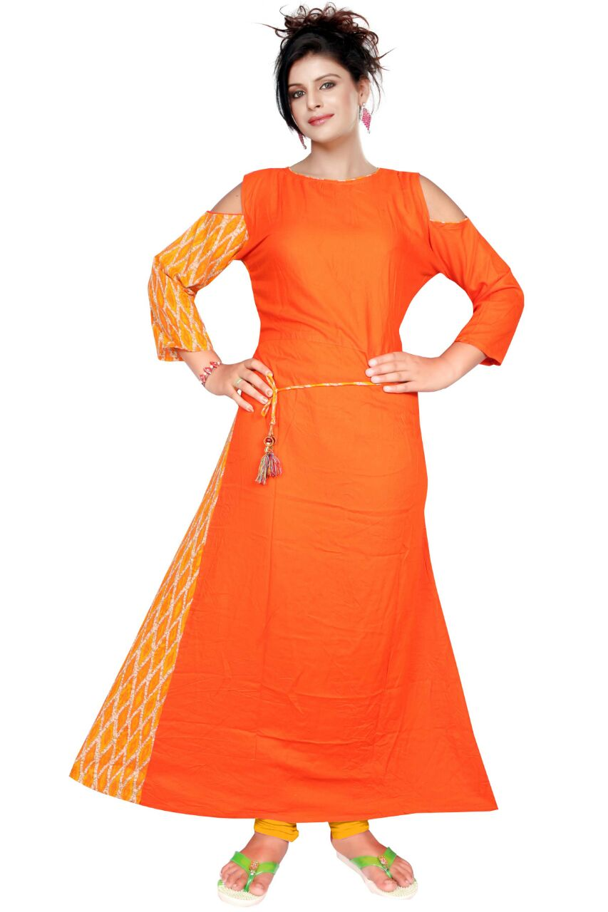 AriFash P6 - Orange Stitched Cotton Kurti