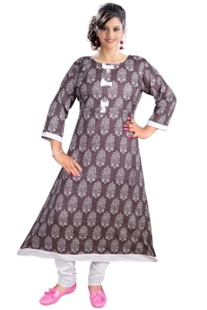 AriFash P7 - D4 Brown Stitched Kurti