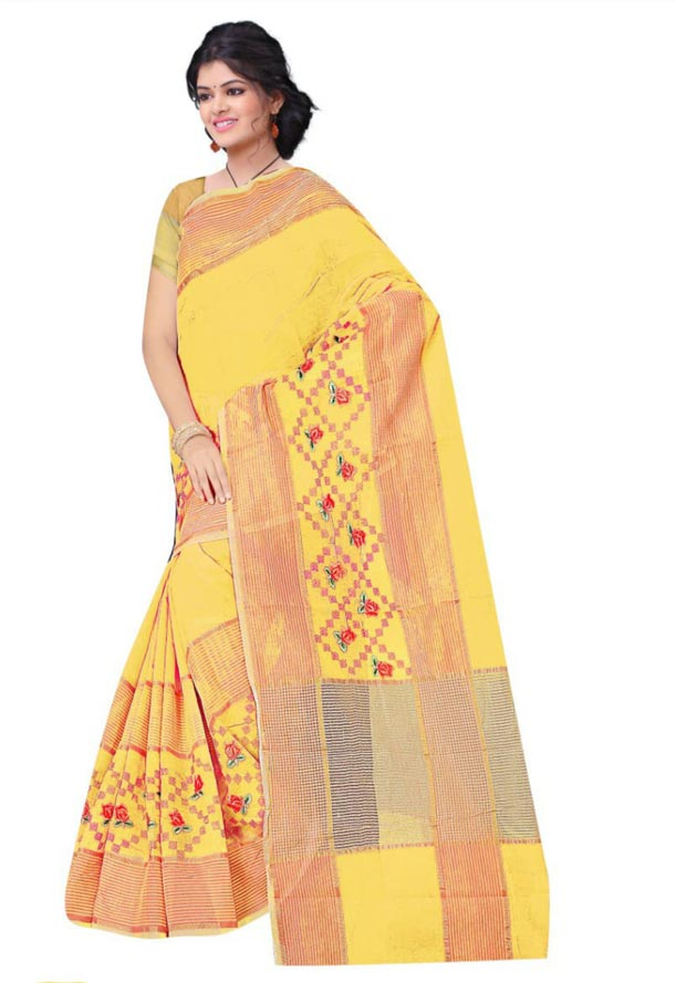WOMEN SAREE WITH BLOUSE-CAMEL-DF JULY BHARTI