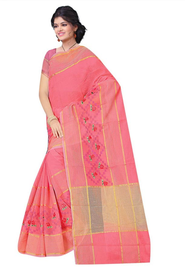 WOMEN SAREE WITH BLOUSE-LIGHT PINK-DF JULY BHARTI