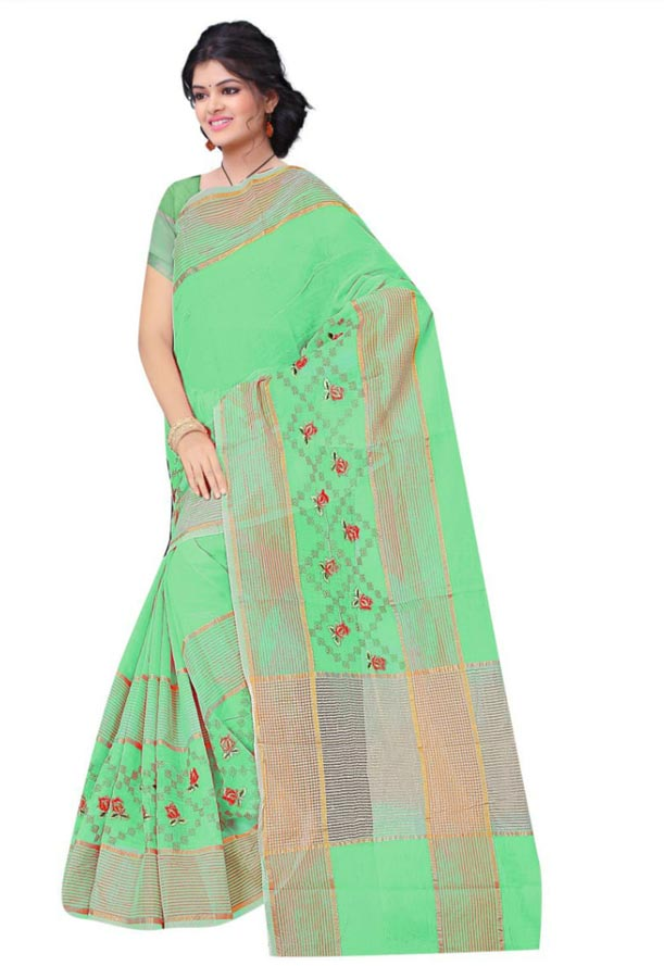 WOMEN SAREE WITH BLOUSE-PARROT GREEN-DF JULY BHARTI