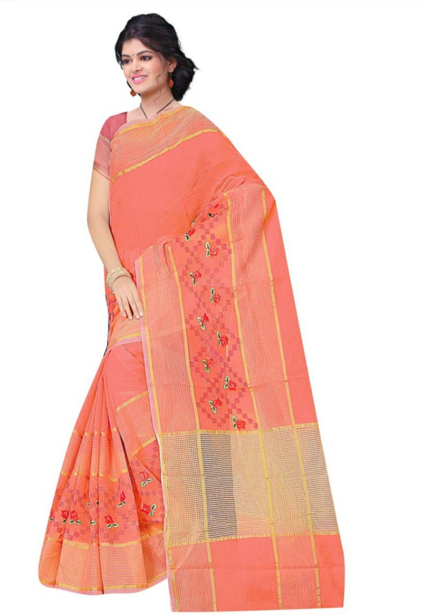 WOMEN SAREE WITH BLOUSE-PEACH-DF JULY BHARTI