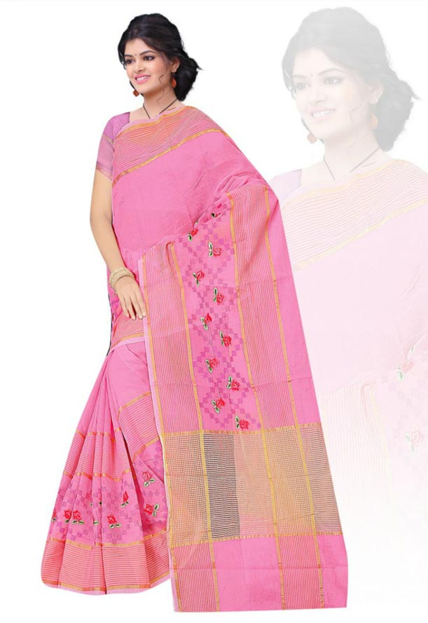 WOMEN SAREE WITH BLOUSE-PINK-DF JULY BHARTI